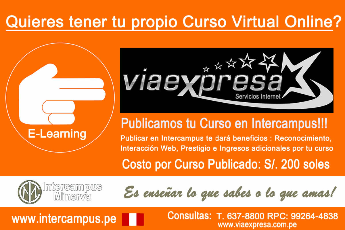 VIA EXPRESA te ayuda a publicar tu Curso Virtual Online en Intercampus!